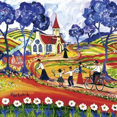 Going to the church - Portchie (South African Artist)