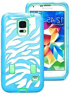 "myLife Three Layer Shockproof ""Built In Screen Protector"" Security Armor Case for Galaxy S5 by Samsung {Blue, Mint and White with Zebra Stripes ""Protective Tuff Shell Design"" Hybrid Triple Piece BOX Protector Shield with Rubberized Gel} myLife Brand Products http://www.amazon.com/dp/B00QR086Y4/ref=cm_sw_r_pi_dp_yN-Xub06P4VZJ"