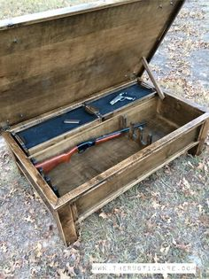 Hidden Gun Storage Coffee Table - The Rustic Acre