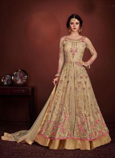 aca34c023 Cream Color Butter Net Party Wear Gown Style Suit. Lehenga BlouseLehenga ...