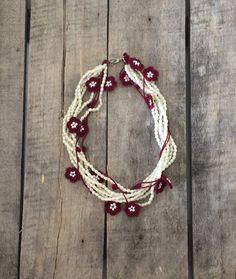 Wedding Jewelry Strand Ivory Beads and Burgundy by ReddApple, $42.00