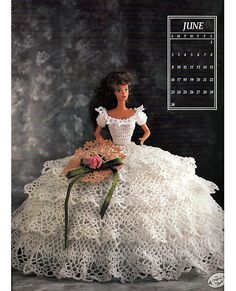 Miss June 1991 Annies Calendar Bed Doll Society  Fashion Doll  Crochet Pattern  Annies Attic 7406.