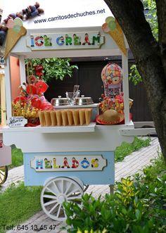 Original carrito de helados que no necesita punto de luz para mantener el helado frío. Con portaconos