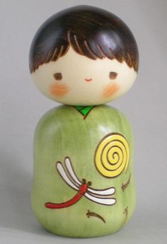 Japanese Creative Kokeshi Doll Dragonfly (my two favorites things, japanese art and  dragonflies) ~RS