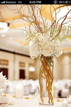 hydrangea curly willow centerpiece - Google Search