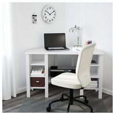 IKEA BRUSALI corner desk You can customise your storage as needed, since the shelves are adjustable.