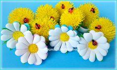 Купить Резинки для волос Ромашки, резинки для девочки - резинка с цветком, резинка для девочки, украшение для волос