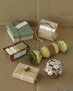 Green and Brown: Finely Wrapped Favors - Martha Stewart Crafts. My signature choice of ways to wrap is the candy one :-)