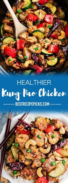 Kung Pao Chicken – Slow Cooker + Instant Pot – makes the perfect easy weeknight meal. Best of all, this popular takeout favorite can be made in the crock-pot or your Instant Pot pressure cooker and is lightened up with the same classic sweet & spicy flavors as your local Chinese restaurant.