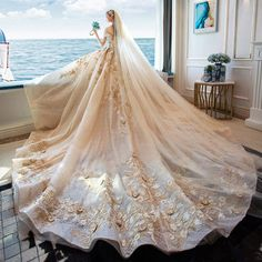 Luxury / Gorgeous Champagne Glitter Tulle Wedding Dresses 2019 A-Line / Princess Off-The-Shoulder Lace Embroidered Backless Royal Train Source by iveaul dresses 2019 Western Wedding Dresses, Wedding Dress Train, Luxury Wedding Dress, Gorgeous Wedding Dress, Princess Wedding Dresses, Colored Wedding Dresses, Tulle Wedding, Dream Wedding Dresses, Bridal Dresses