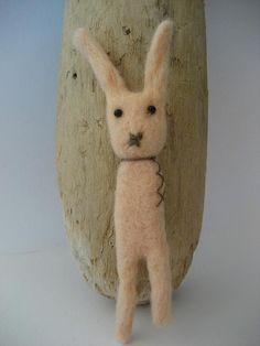 Cute needle felted Bunny Brooch * feltstories