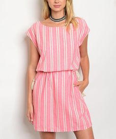 This Coral & Ivory Stripe Blouson Dress is perfect! #zulilyfinds