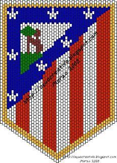 Aqua Creativa: Esquema Peyote Escudo Atlético de Madrid Pixel Art Grid, Here Comes Peter Cottontail, Cute Pomeranian, Mug Shots, Perler Beads, Beading Patterns, Mosaic, Flag, Embroidery