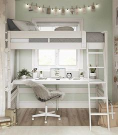 A loft bed is an excellent solution for the kids' room when space is at a prem. A loft bed is an excellent solution for the kids' room when space is at a premium. A lot of today Room Design, Beds For Small Rooms, Bed For Girls Room, Room Design Bedroom, Bedroom Loft, Stylish Bedroom, Small Bedroom, Loft Beds For Small Rooms, Dream Rooms