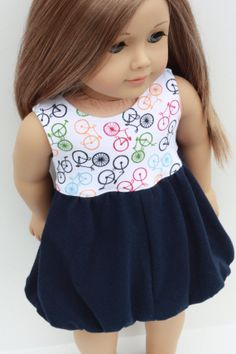 Navy Bicycle Knit BUBBLE DRESS for American Girl by Closet4Chloe, $14.00
