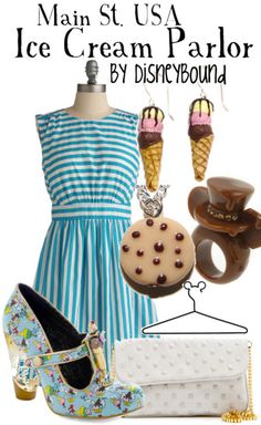 Okay so if you have been to disney land you probably know where Main St USA is and you have probably been to their fabulous Ice cream parlor...Its theme is great and this outfit is perfect for the parlor.