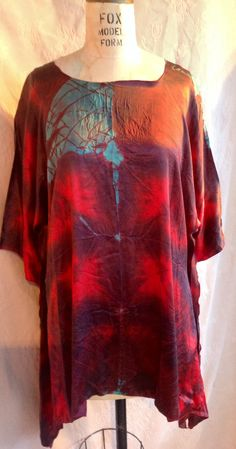 Red silk avenue a top with  the blue flash boho chic beach wear plus size tops and dresses by momosoho on Etsy