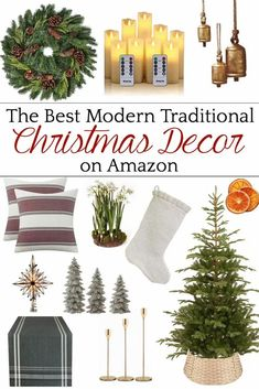 A round-up of the best modern traditional Christmas decor that combines clean lines with timeless style on a budget.