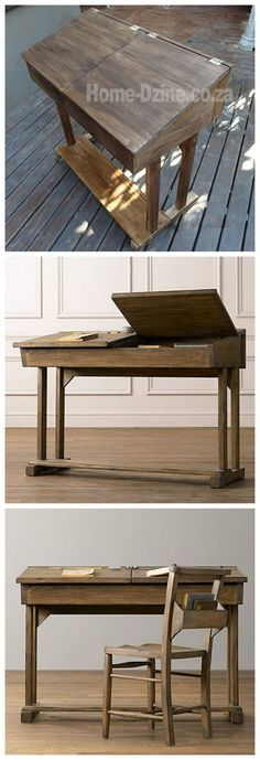 Flip-top reproduction school desk for child with materials list and step by step: