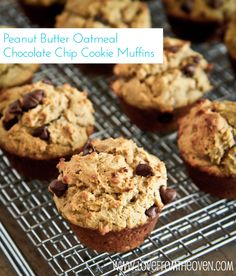 Peanut Butter Oatmeal Chocolate Chip Cookie Muffins.  With oatmeal, Greek yogurt and peanut butter, we can call this a healthy breakfast!