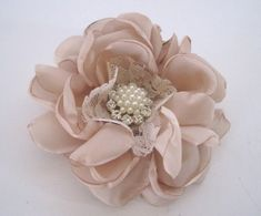 Elegant Champagne Satin with Lace Bridal Flower Hair Clip