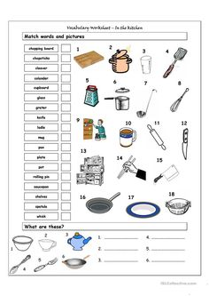Life Skills Lessons, Life Skills Activities, Teaching Life Skills, Teaching Ideas, Vocabulary Worksheets, Worksheets For Kids, Printable Worksheets, English Vocabulary, Cooking In The Classroom