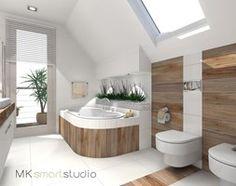 Aranżacje wnętrz - Łazienka: Łazienka w stylu skandynawskim - projekt - Średnia łazienka na poddaszu w domu jednorodzinnym z oknem, styl skandynawski - MKsmartstudio. Przeglądaj, dodawaj i zapisuj najlepsze zdjęcia, pomysły i inspiracje designerskie. W bazie mamy już prawie milion fotografii!