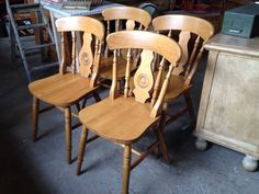4x Farmhouse Dining Chairs FOR SALE • £79.00 • See Photos! Money Back Guarantee…
