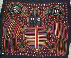Two birds and turtle Mola made by Kuna (Cuna) Indian people of Panama's San Blas Islands.