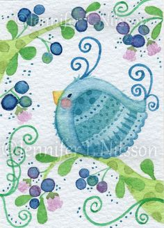 I'm having cuteness overload. Blueberry Morning ACEO Print blue birds berries by JLNilsson Bird Drawings, Cute Birds, Little Birds, Whimsical Art, Cute Illustration, Bird Art, Doodle Art, Blue Bird, Cute Art