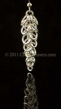 Waterfall Earrings.  Graduated chainmaille