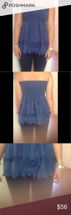 HELP! DOMESTIC VIOLENCE HUGE SALE!! 4 TOPS/$25 This is a beautiful tube top style gorgeous 100% SILK BLUE BLOUSE the hemline detail is beautiful the girl in the photo wears a size med. this is a size small. HAPPY SHOPPING  PLEASE HELP! DOMESTIC VIOLENCE SITUATION MUST SELL EVERYTHING!  PLEASE SHARE!  CHOOSE ANY 4 TOPS/BLOUSES FOR ONLY $25 BCBGMaxAzria Tops Blouses