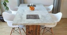 Completely built from scratch concrete and wood dining table. Concrete table top sits on 2 Eco Furniture, Sustainable Furniture, Concrete Furniture, Recycled Furniture, Sustainable Design, Furniture Design, Concrete Table Top, Diy Concrete, Concrete Design
