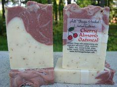 Handmade Cherry Almond Oatmeal natural soap from AllThingsHerbal.com