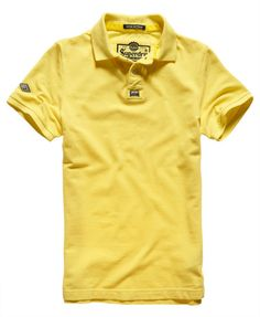 Superdry New Vintage Destroyed Pique Polo Shirt Yellow