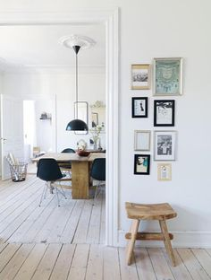 White modern interior with ceiling medallion.