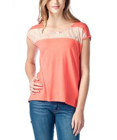 Loving this Pink & White Lace Stripe Top on #zulily! #zulilyfinds