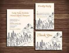 Boho Mountain: Wedding Invitation Suite; Print at Home Wedding Invitations