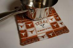 UT Pot HOLDER Hot Pad Texas Longhorns Kitchen Mitt by buckshotinc  https://www.etsy.com/listing/219344875/ut-pot-holder-hot-pad-texas-longhorns?ref=sr_gallery_40&ga_search_query=pot+holders&ga_page=30&ga_search_type=all&ga_view_type=gallery