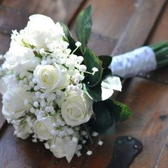 baby's breath wedding bouquet with navy ribbon - Google Search