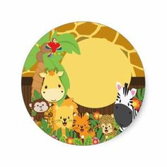 Shop Jungle Safari Baby Animals Baby Shower Stickers created by celebrateitinvites. Jungle Theme Birthday, Animal Birthday, Safari Party, Safari Theme, Safari Animals, Baby Animals, Safari Cakes, Baby Boy Shower, Airbrush