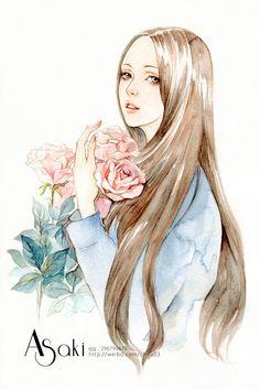 【森女插画系列2】女子与花-安浅浅_Asaki_水彩,手绘_涂鸦王国插画