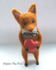 Needle Felted Fox with Heart Nature Woodland by littleladyhead, $24.00