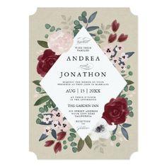 Romantic Florals Wedding Invitation - click/tap to personalize and buy #wedding #invitation #weddingideas #weddinginspiration #flower #floral #botanical #garden #outdoor #nature #romantic #editable