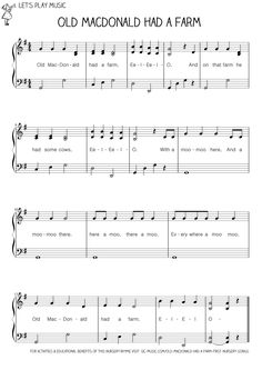 Piano Lessons Beginner Let's Play Music : Easy Piano Sheet Music for Old MacDonald Had A Farm - Old Macdonald had a Farm is perfect for little ones to join in with the animal sounds before they can talk Lets Play Music, Music For Kids, Piano Lessons, Music Lessons, Easy Piano Songs, Piano Classes, Easy Piano Sheet Music, Music Sheets, Nursery Songs