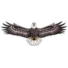 Realistic Eagle With Wings Spread Out Tattoo Design - TattooWoo.com