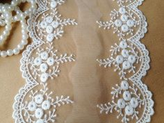 2 Yards Embroidered Lace in Off White Mesh Lace for by lacelindsay, $3.80