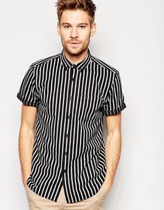 ASOS Stripe Shirt In Monochrome With Short Sleeves In Regular Fit