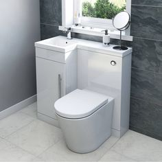 Style it your way with MySpace furniture Myspace white left handed unit with Arte back to wall toilet Compact Bathroom, Bathroom Toilets, Bathroom Storage, Bathroom Vanities, Bathroom Cabinets, Tiny Bathrooms, Tiny House Bathroom, Small Bathroom, Modern Bathroom