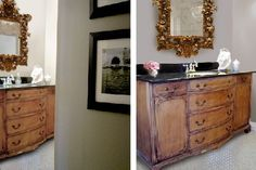 Turn an old buffet into a beautiful bathroom vanity with help from this blog post!